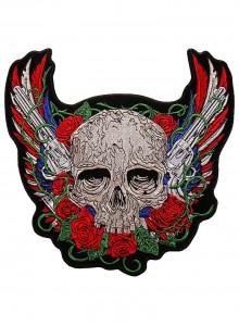 Череп с розами и пистолетами