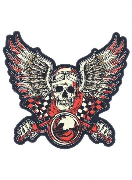 Череп с крыльями и финишным флагом