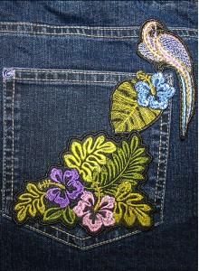 Вышивка на джинсах Птицы