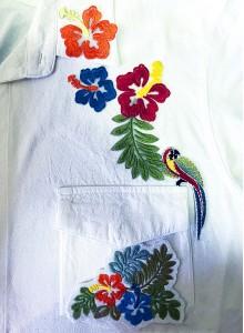 Вышивка на рубашке Птицы