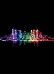 Светящаяся вышивка Ночной город